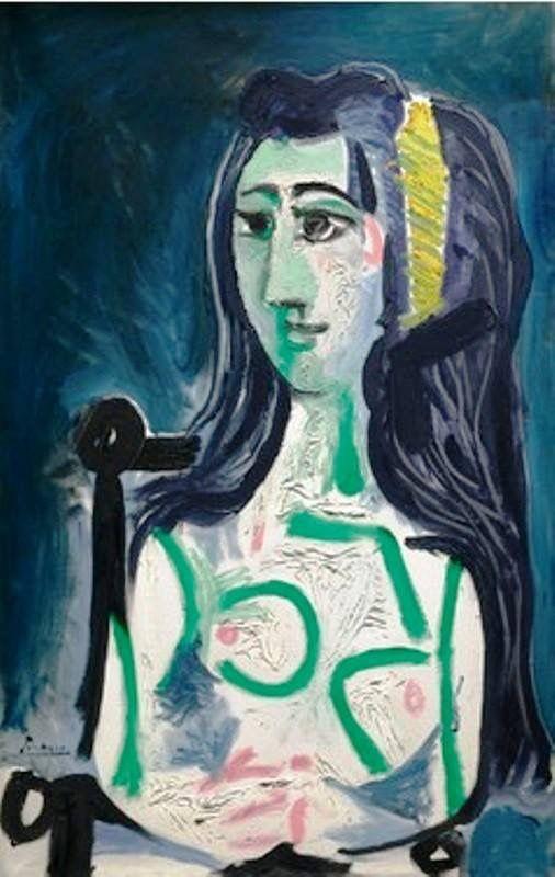 Pablo Picasso - Femme assise dan un fauteil, Buste, 1963.