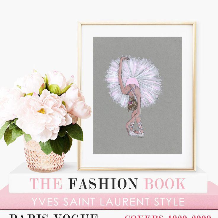 "La Rose - Prints - 8""x10"" - Various Sizes - Wall Art - Art for Her - Ballerina Art - TulleTutu- Ballet - Pink - Ballet Slippers by KristinaHerediaArt on Etsy"