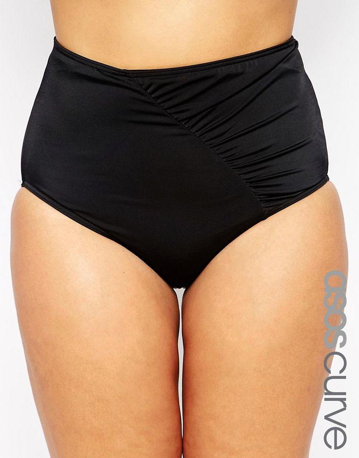 Cool ASOS CURVE Mix & Match Highwaist Bikini Bottom with Wrapped Front and Support - Black ASOS Curve Badetøj til Damer i fantastisk kvalitet
