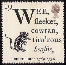 Robert Burns - The Immortal Memory 19p Stamp (1996) Opening Lines of 'To a Mouse' and Fieldmouse
