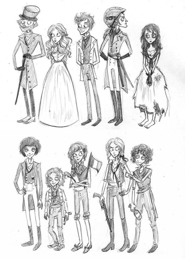 Tim Burton's 'Les Miserables' by xxIgnisxx -Jean Valjean, Cosette, Marius, Javert, Eponine, Courfeyrac, Gavroche, Jehan, Enjolras, Grantaire