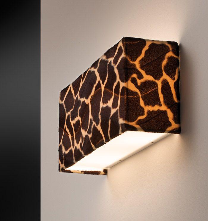Altea Ap 40   Wall lamp with shade rectangular faux fur giraffe type.