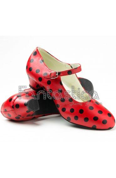 Zapatos para Flamenco Color Rojo y Lunares Negros - Tallas para Niña y Mujer