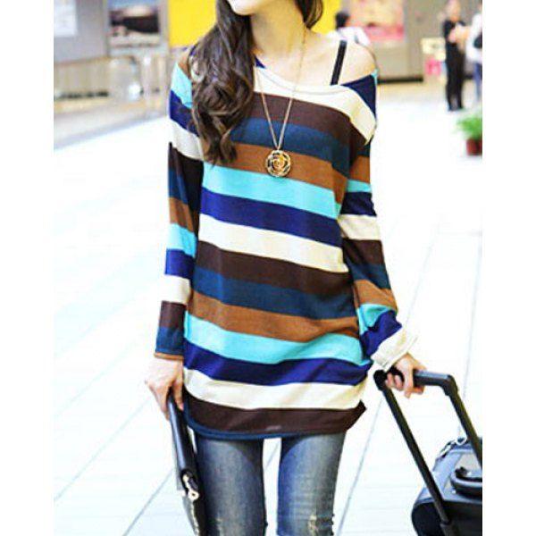 Wavy Striped Long Sleeve Round Neck Women's Maternity T-Shirt