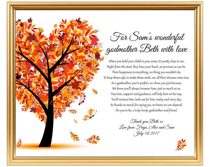 Christening Gift Poem To Say Thank You To Godparent