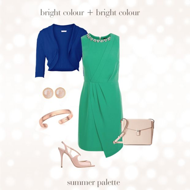 Green color contrast dresses for less