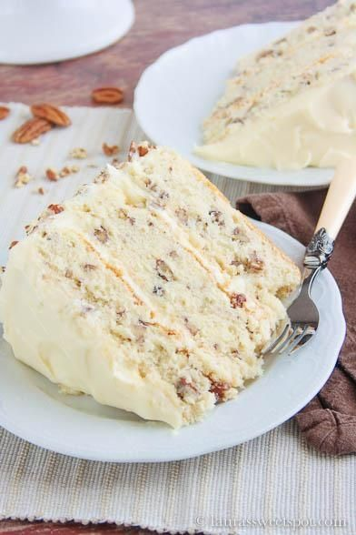 Butter Pecan Cake: the secret is toasting the pecans in butter before adding to the batter. Fantastic! #recipe #cake