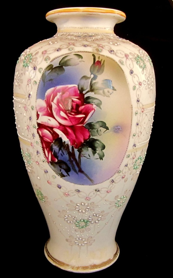365 best you break you buy nippon images on pinterest dish large nippon vase hand painted beading and jewels ca 1890s reviewsmspy