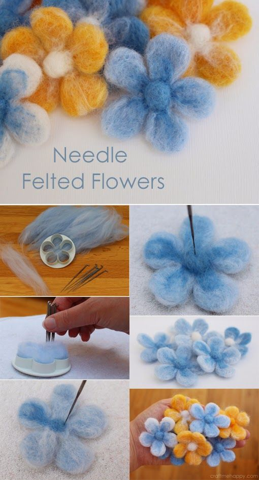 "Easy Needle Felted Flowers! Great instructions on how to make ""cookie cutter"" style needle felted flowers and then embellish further to add colour detail. Perfect for beginners. #needlefelting Lättgjorda ulltovade blommor! Jättebra instruktioner för hur man tovar blommor. Perfekt för nybörjare! #ulltovning"