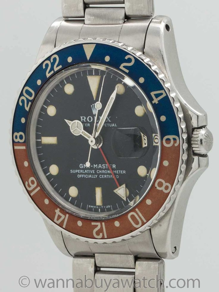 Exceptionally lovely example vintage Rolex GMT circa 1966 with all the desirable features of a collectible vintage sport Rolex. Featuring a beautifully patina'd original red and blue pepsi bezel, beautiful original matte black dial with evenly patina'd luminous indexes and matching original luminous hands, and completed by original 1966 date code ref 7836 folded link Oyster bracelet with correct 280 end pieces, original clasp in exceptional condition. If you were to assemble a vintage GMT…