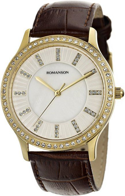 Romanson Women's Swiss Quartz Watch With Crystal Encrusted Bezel And Mother Of Pearl Dial