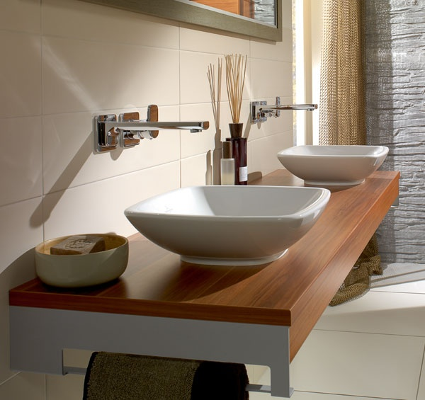 Bathrooms Basins Above Counter V Loop Low Profile Square - Low profile bathroom sink for bathroom decor ideas