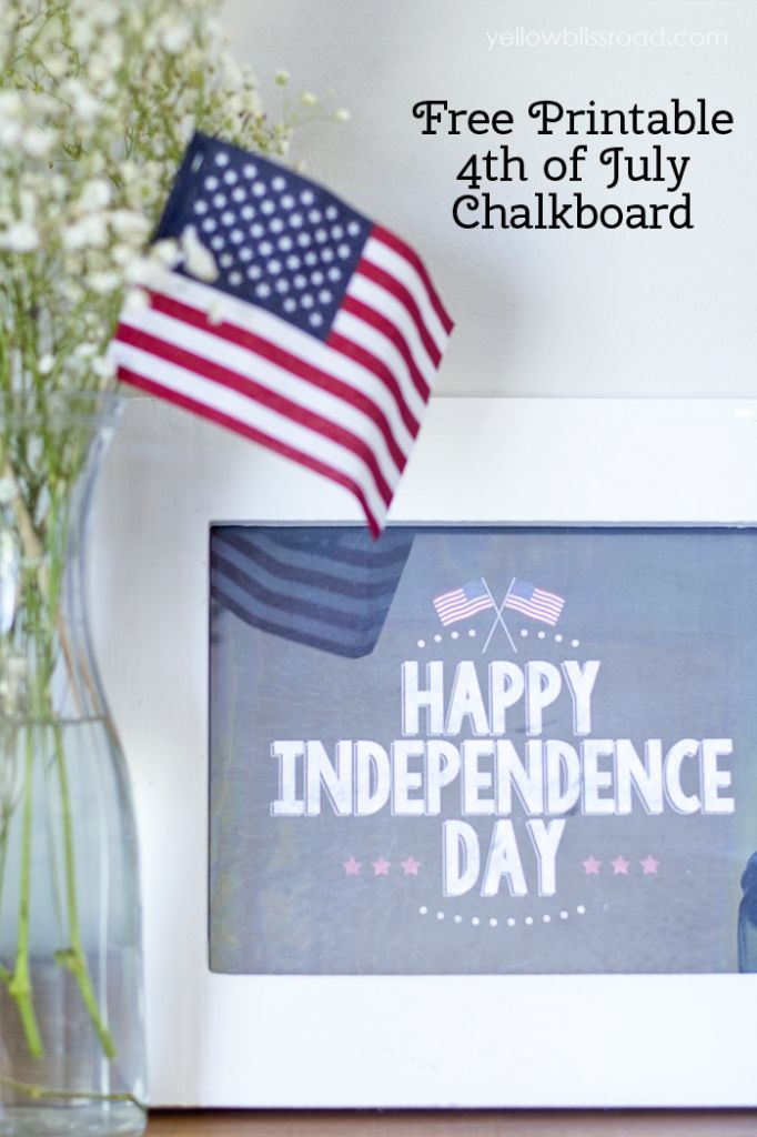 Happy Independence Day Free Chalkboard Printable by Yellow Bliss Road for Tatertots and Jello