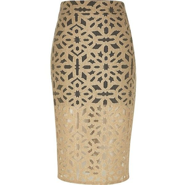 River Island Beige woven lace layer pencil skirt ($70) ❤ liked on Polyvore featuring skirts, beige, tube / pencil skirts, women, knee length pencil skirt, tall skirts, lacy skirt, brown pencil skirt and woven skirt