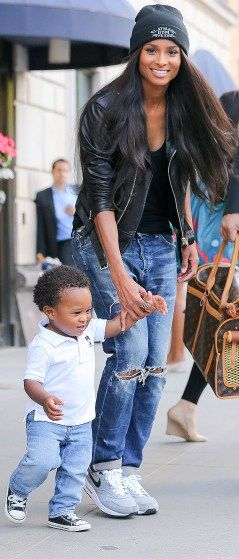Ciara and son Future Zahir Wilburn leave their New York hotel on Wednesday.