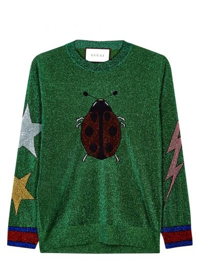 Green insect-intarsia metallic jumper - All Clothing - Women