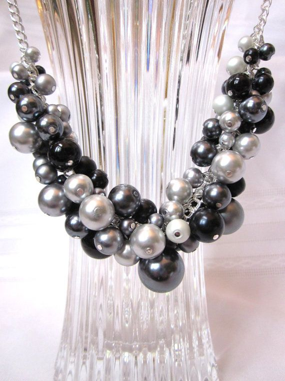 Shades of Gray and Black Pearl Cluster Necklace