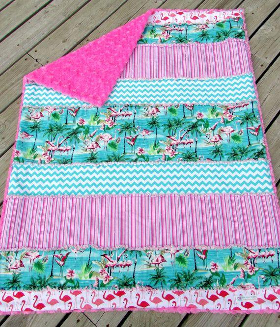 Rag Quilt Minky Blanket Flamingo Chevron by LovePitterPatter