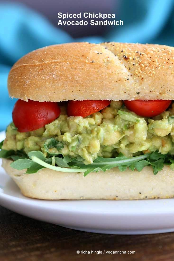 Easy Spicy Avocado Chickpea Salad Sandwich. Serve as sandwiches, tacos or Smashed Chickpea Avocado Salad bowl to make gluten-free. Vegan Soy-free Recipe