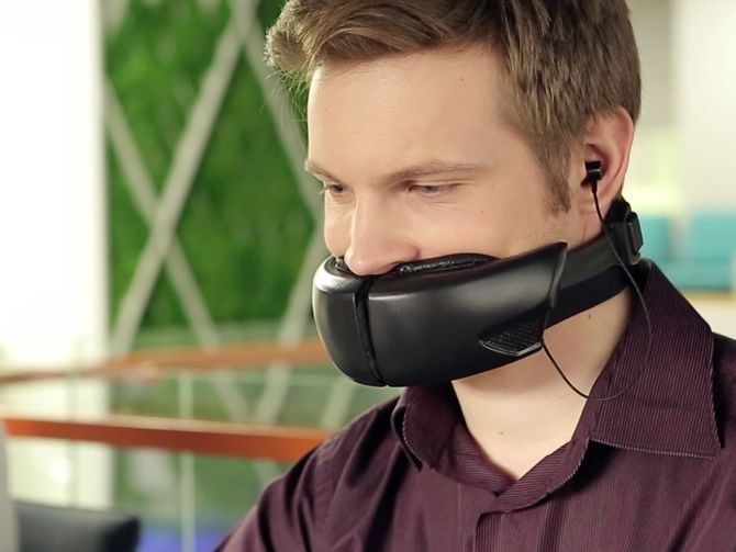 """Hushme Colleagues yapping on the phone nonstop while you're trying to work? Perhaps this totally-not-cosplaying-as-Bane mask -- aka the Hushme -- could help! Billed as the """"world's first voice mask for mobile phones,"""" it's designed to let a person gab without disturbing those nearby. It's also got a built-in voice changer, if you want to sound a bit more like Darth Vader. Yes this is a serious idea."""