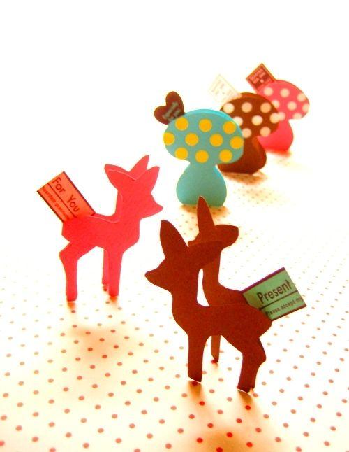 *クッキー型 de 森のバンビなギフトカード*の作り方 ペーパークラフト 紙小物・ラッピング   アトリエ