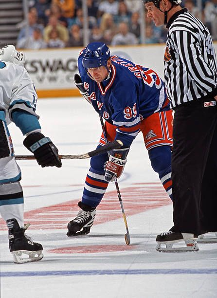 Wayne Gretzky of the New York Rangers in action against the San Jose Sharks at the San Jose Arena on March 9 1997 in San Jose California The Rangers...