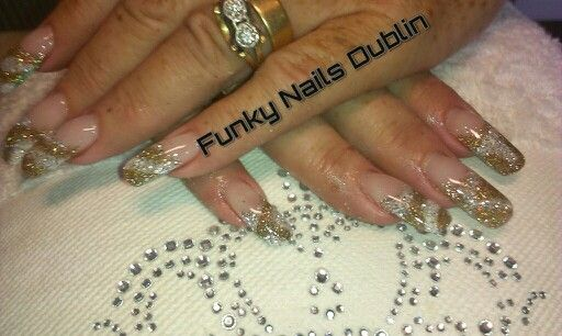 My client loves long nails. A mixture of Young Nails gel. White and gold glitter I loved creating these :) Its foil gel and foil....  #youngnails #gel #gelnails #ireland #nailart #gold #glitter #funky #nails #dublin  Connect with me on Facebook https://www.facebook.com/funkynailsgel/