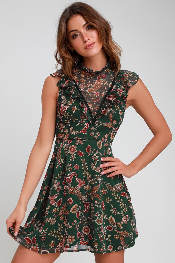 76945b281a662 From dusk 'til dawn the Moon River Dawn Forest Green Floral Print Ruffled  Mini Dress is a perfect pick! Gauzy woven fabric, in a cute red, orange, ...