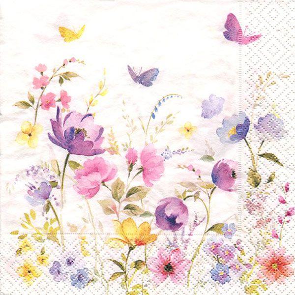 Serviett, 33x33 cm - Fleurs des champs