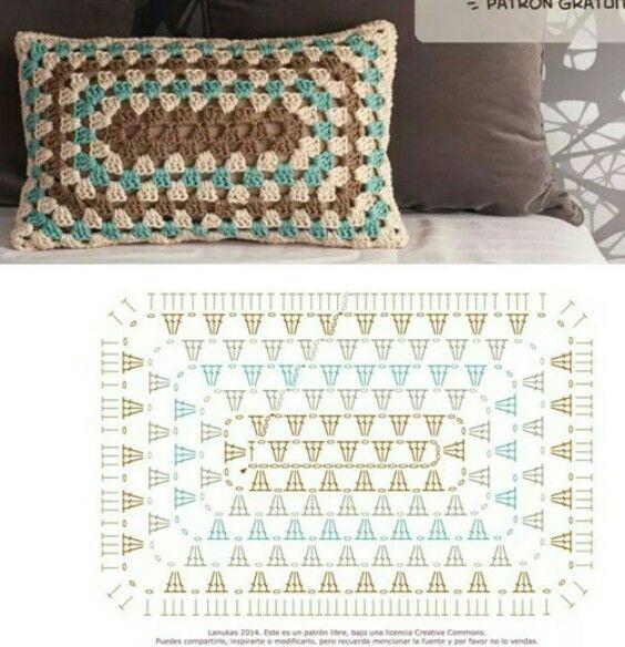 Picasa Web Albums - crochet rectangular granny stitch pillow pattern diagram.