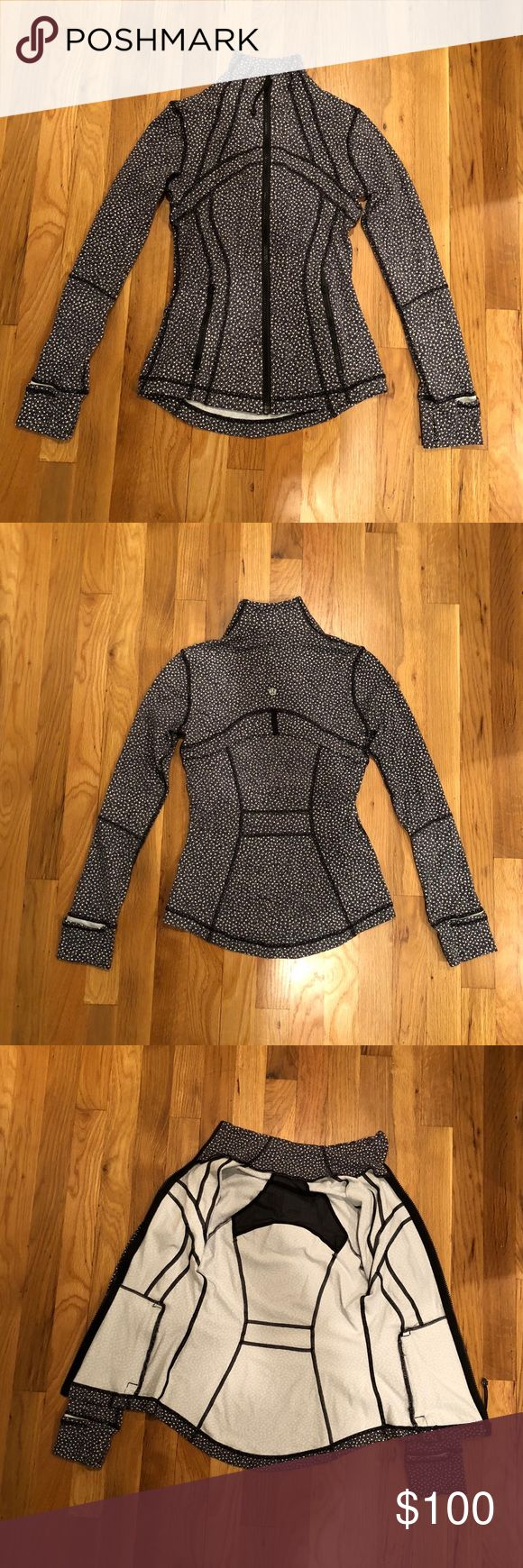 Lululemon Define Jacket Barely worn black speckled lululemon jacket. Perfect condition! I wore twice but it was a little too small for me. Made from athletic material and thumb holes.   Comes from a smoke-free home.  Open to offers! lululemon athletica Jackets & Coats