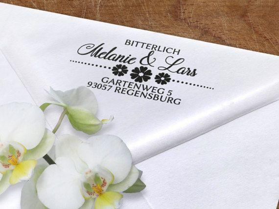 Adressstempel Holzstempel 60x30mm Blumen von ExklusivePapeterie