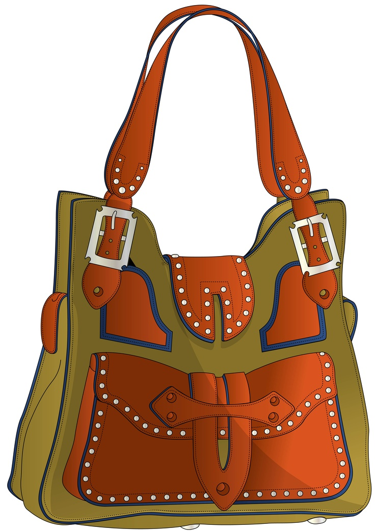 green handbag with orange handle and applications