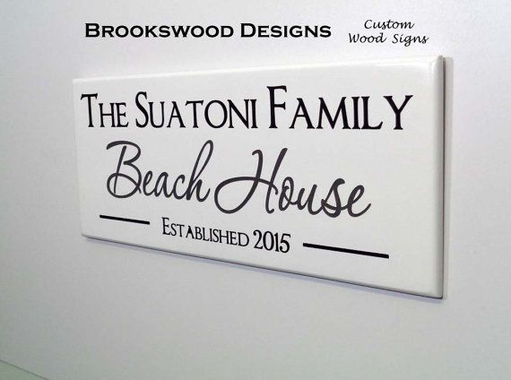 Beach House Sign with Quote-Personalized Family Name Sign-Custom Wood Name Family Established Wooden Plaque for Lake House