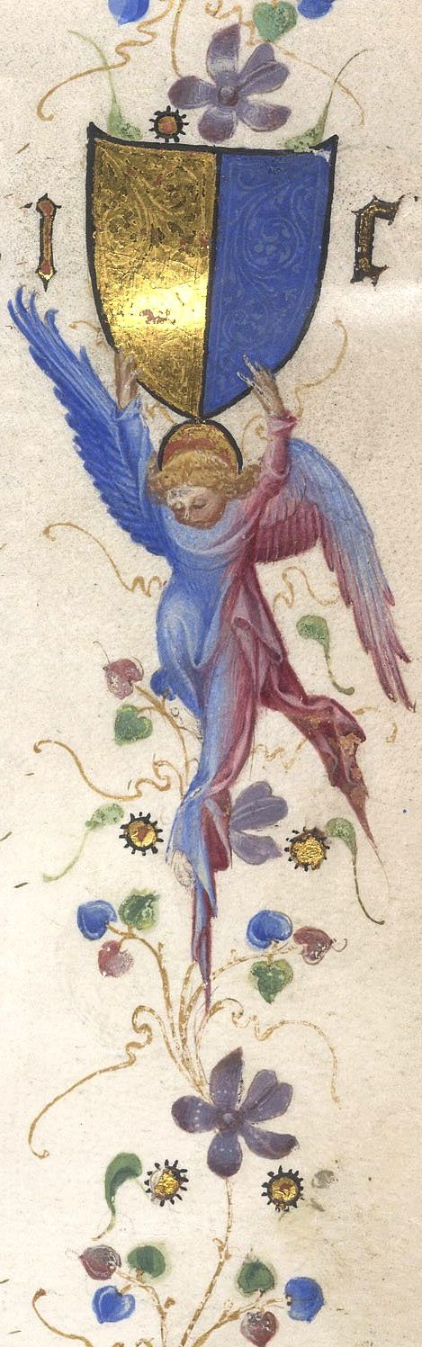 """Cornaro family of Venice: Angel Detail"" (c.1390), Artist: Attributed to Cristoforo Cortese, the Master of the Brussels Initials, and Michelino da Besozzo; or just Master of San Nazario, and Michelino da Besozzo, Epistles and treatises: Egerton 3266, Illuminated Manuscripts, By: Jerome, Pseudo-Jerome, and others. Italy. #angels     Background: http://prodigi.bl.uk/illcat/record.asp?MSID=8314&CollID=28&NStart=3266"