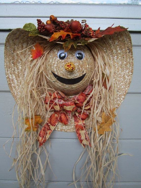 """Cute scarecrow """"wreath"""" made out of a straw hat"""