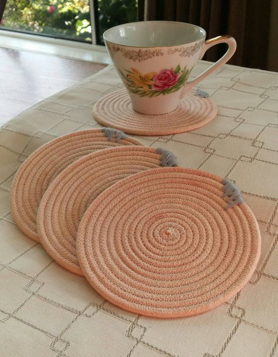 Check out this item in my Etsy shop https://www.etsy.com/listing/241508134/cotton-rope-coaster-set
