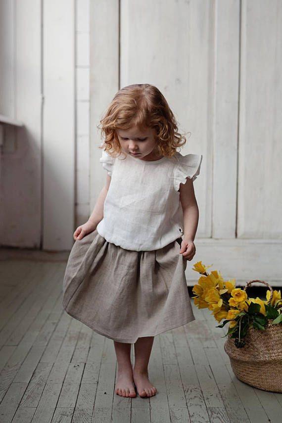 bb99acdcf8a74 Linen midi skirt, 1st birthday outfit, Baby girl clothes, Baby ...