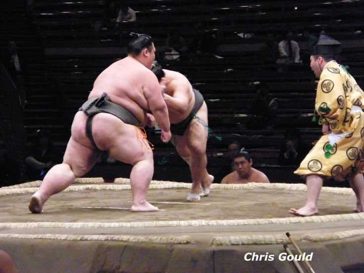 Kihaku charges into his much larger opponent (and he weighs about 150 kilograms himself!)