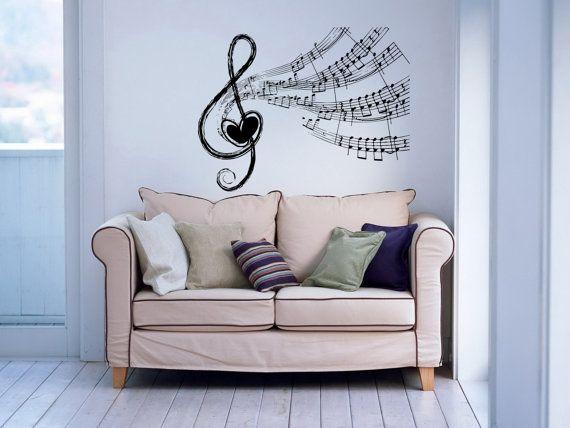 Nota note onde cuore musicale Treble Clef Housewares parete vinile Decal Sticker Design Interior Decor Camera da letto SV4124 di musica Studio di registrazione