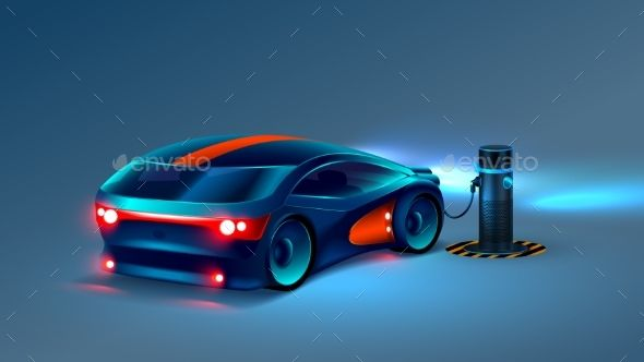 Electric car charging station. Future concept. VECTOR.