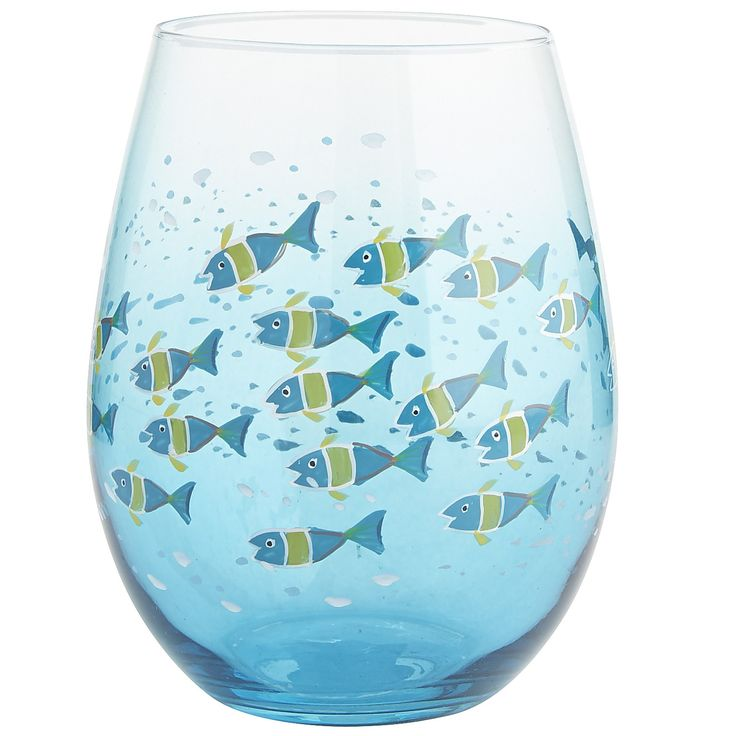 101 best images about stemware wine glasses on for Painted glass fish