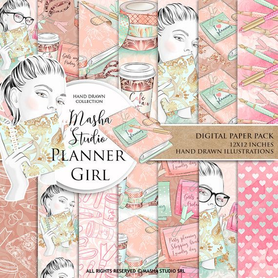 Planner Papers: Planner Girl Digital Paper with by MashaStudio #planner #girl #digital #paper #planning #pattern #agenda #illustration #background #pastel #patterns #pink #watercolor #girlwithglasses