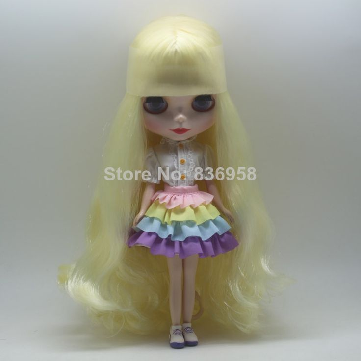 New Listing Light Yellow Long Curly Hair Nude Blythe Doll Without Clothes Girls Birthday Gifts $65.00