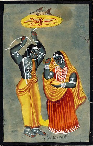 Arjuna shooting at the eye of a fish to win Draupadi in marriage, Kalighat painting
