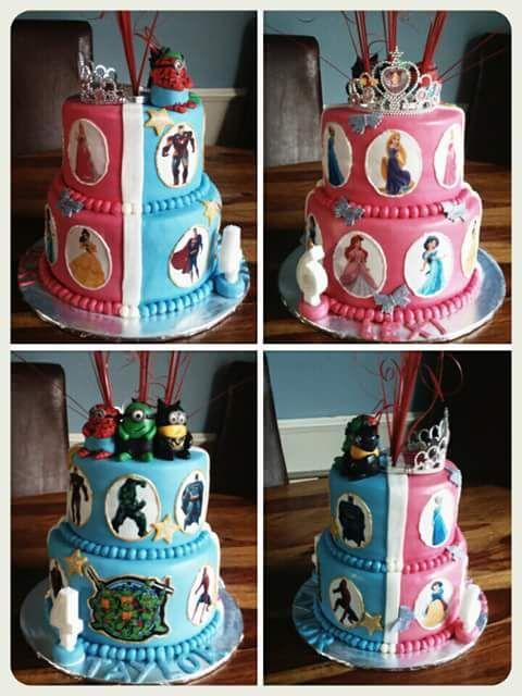 TAYLOR AND LEXI'S SUPERHERO DISNEY PRINCESS MINIONS DOUBLE SIDED CAKE X