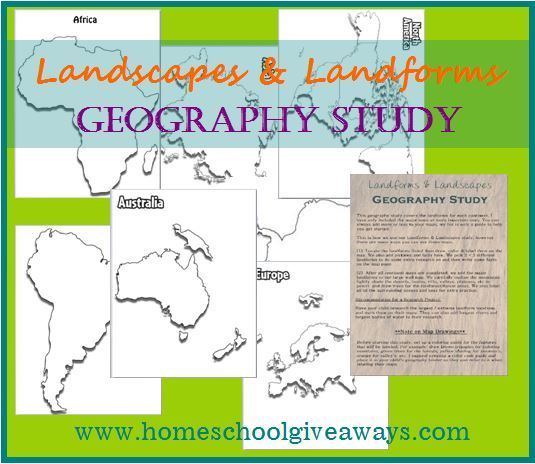 Homeschool Giveaways has a FREE Landscapes and Landforms Unit Study for upper level children. This is a great resource if you are studying geograp
