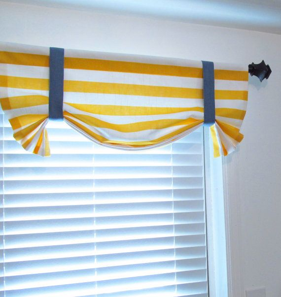 Tie Up Valance Horizontal Stripes Nautical Themed Room