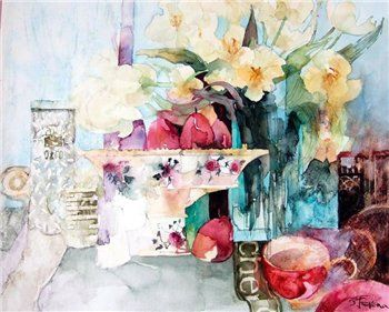 ©Shirley Trevena watercolor    Again, the blurring effect and the colours chosen
