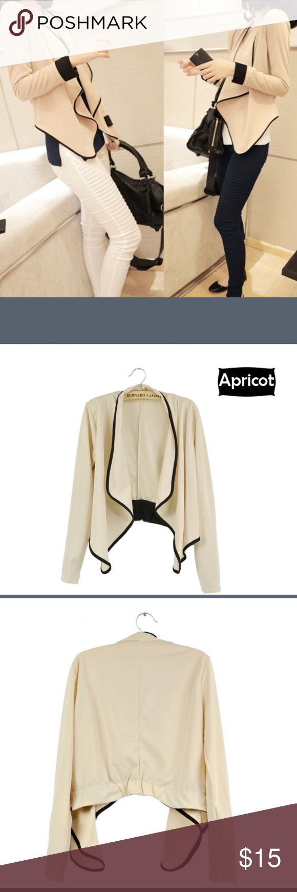 Long sleeve jacket Apricot with black trim, cotton blend trendy spring blazer. ViVi Fashion Jackets & Coats